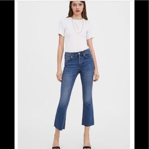 Zara TRF mid-rise flared cropped jeans